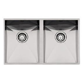 Evier inox double cuves 34x40cm Design