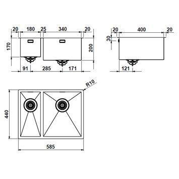 evier inox avec double cuves 57x40cm design pour cuisine encastrer ou poser bacs inox design. Black Bedroom Furniture Sets. Home Design Ideas